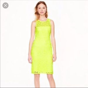 J. Crew Collection Neon Yellow Lace Dress